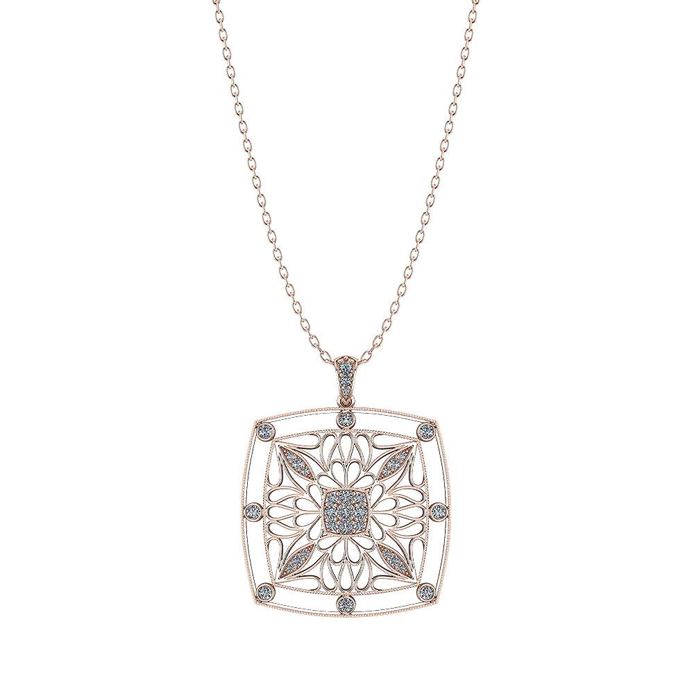 Rose Gold Filigree Diamond Pendant Jewelry Designs