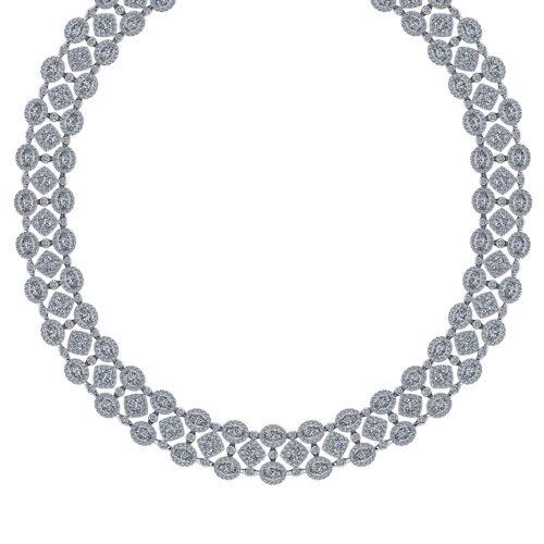 Wide Diamond Bib Necklace