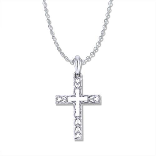 Heart Motif Gold Cross