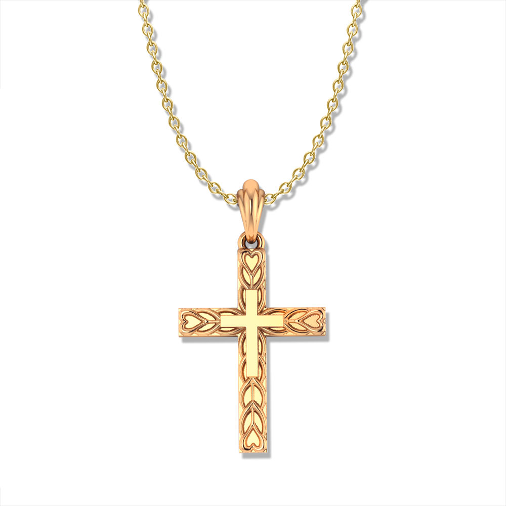 Heart Motif Gold Cross