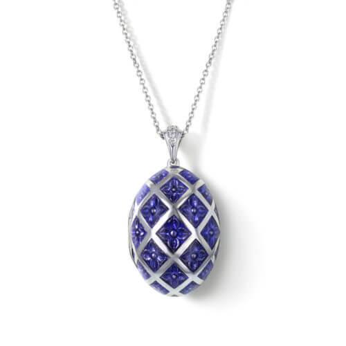 Blue Sapphire White Gold Locket