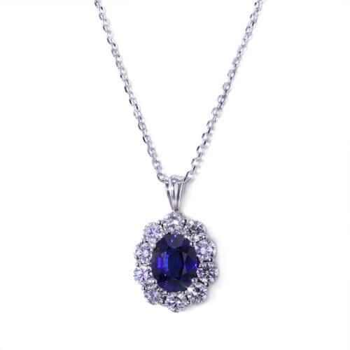 Handmade Sapphire Halo Necklace