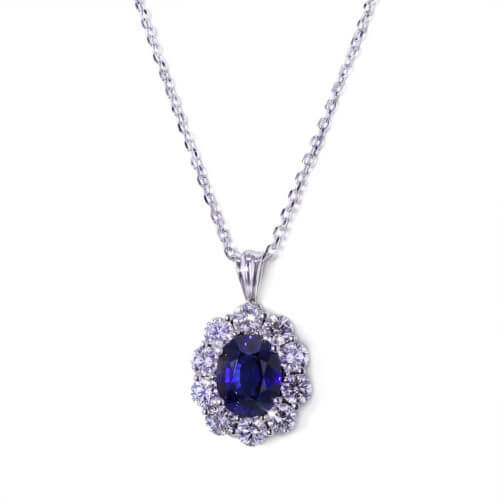 Handmade Sapphire Halo Necklace