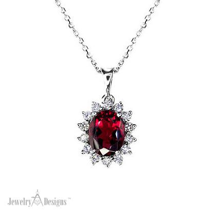 NP052-6 Diamond Rubellite Necklace
