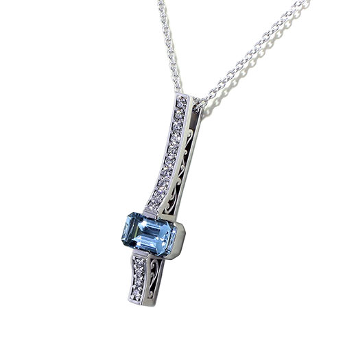 Emerald Cut Aquamarine Necklace angle view