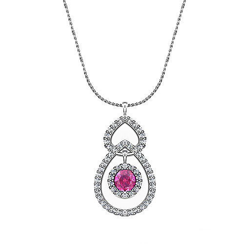 Pink Sapphire Diamond Necklace