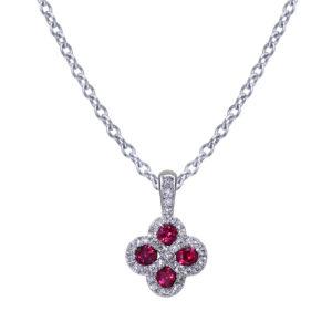 Quatrefoil Diamond Ruby Necklace