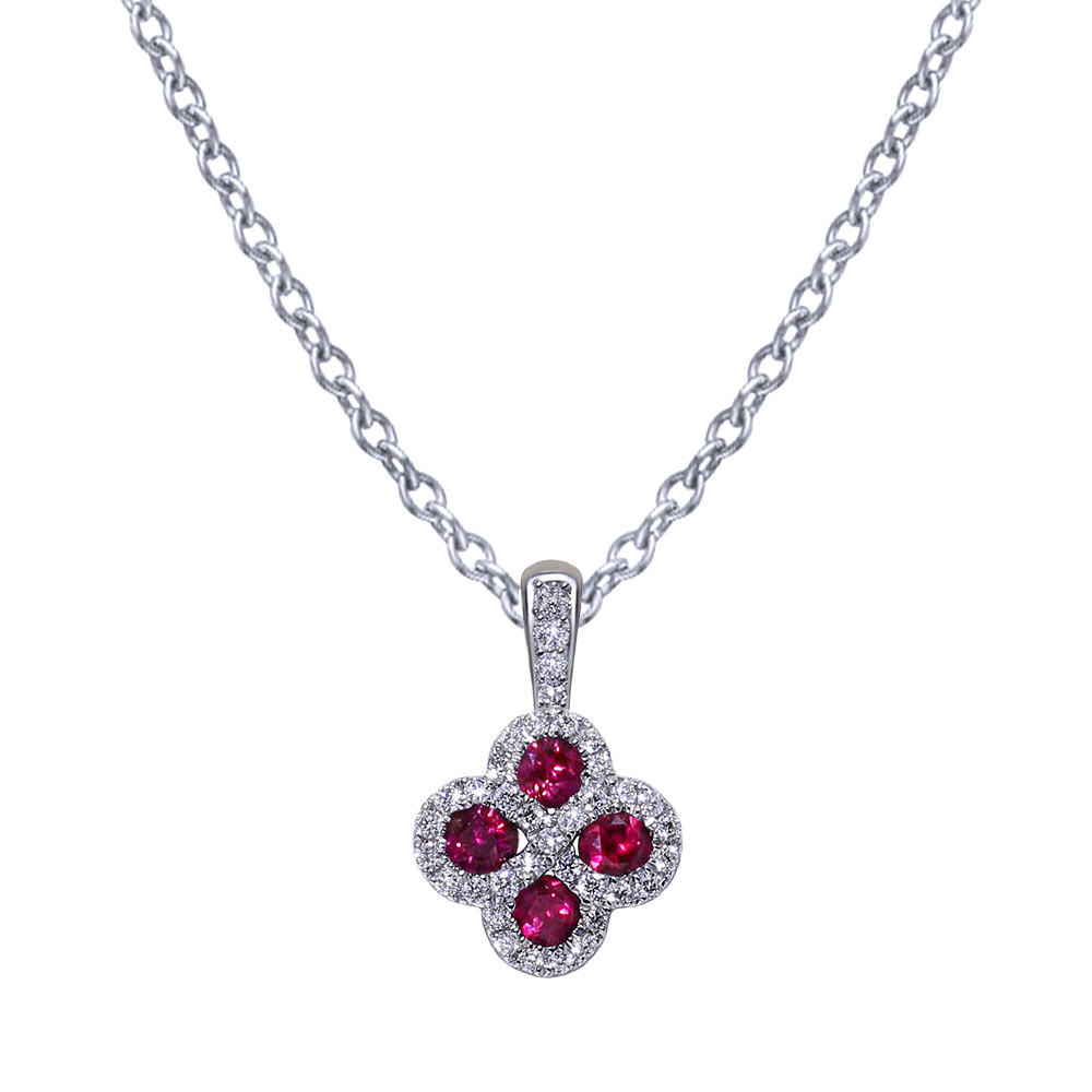 Quatrefoil Diamond Ruby Necklace