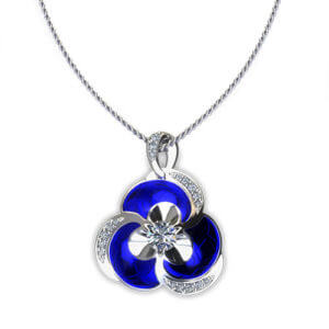 NP163-1 Blue Pansy Diamond Necklace