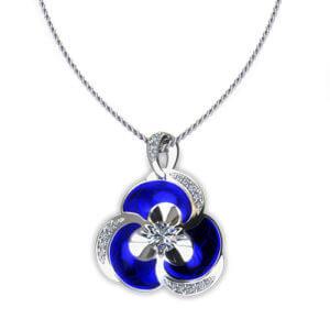 NP163-1 Blue Pansy Diamond Necklace