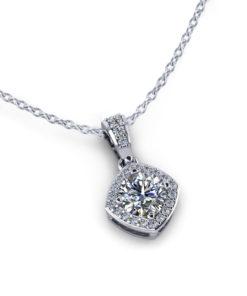 Cushion Halo Diamond Necklace