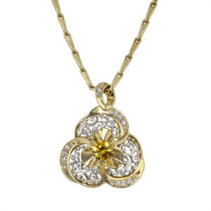 Yellow Sapphire Filigree Necklace