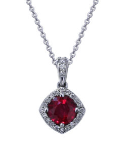 Round Ruby Diamond Necklace
