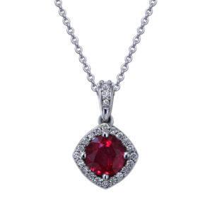 Round Ruby Diamond Necklace