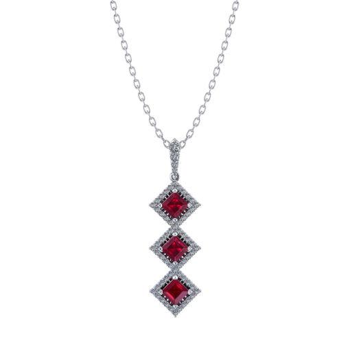 3 Stone Ruby Diamond Necklace