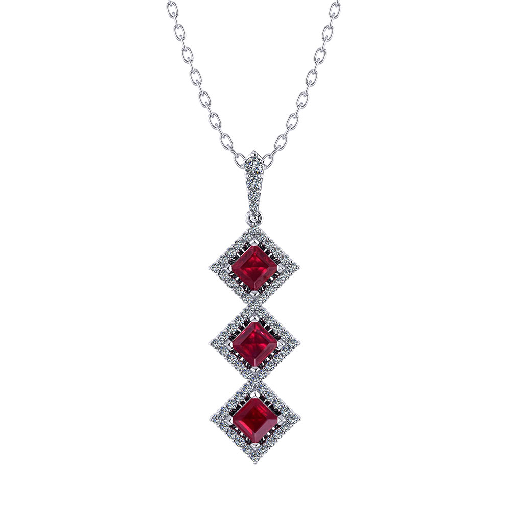 3 Stone Ruby Diamond Necklace