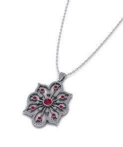 Diamond Ruby Spray Necklace
