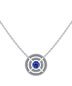 Floating Halo Sapphire Necklace