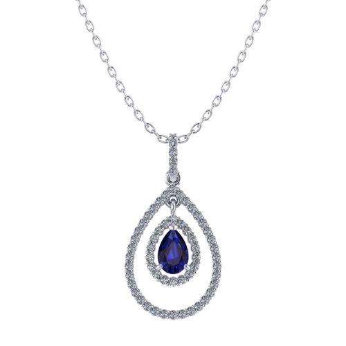 Double Halo Sapphire Necklace