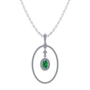 Oval Halo Emerald Necklace
