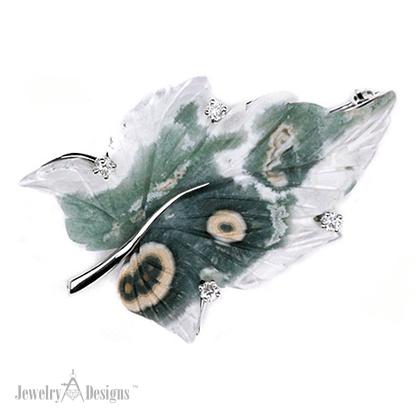 PC007-6 Ocean Jasper Leaf Brooch