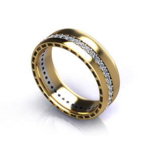 Men's Eternity Wedding Ring yellow, angle