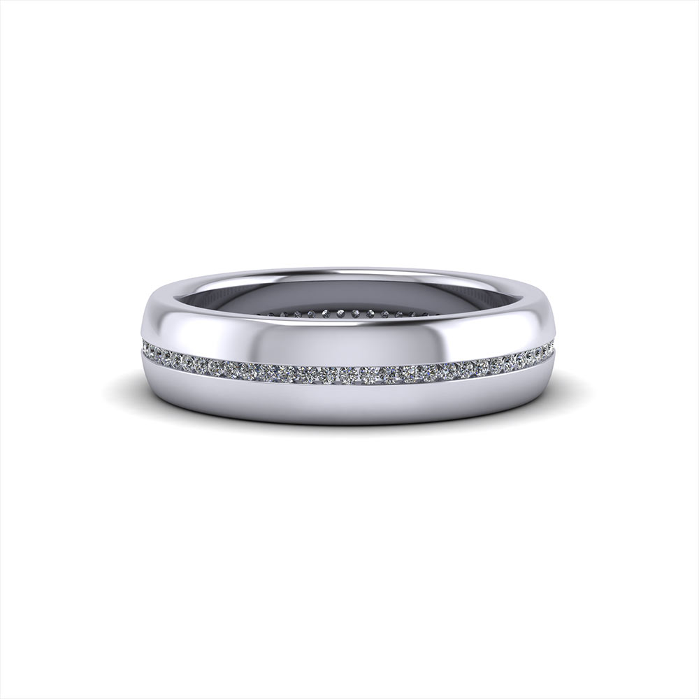 Mens Diamond Pinstripe Band