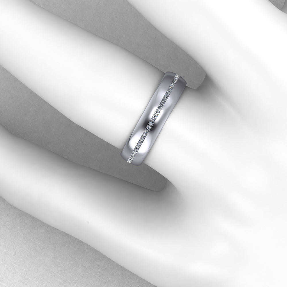 Mens Diamond Pinstripe Band