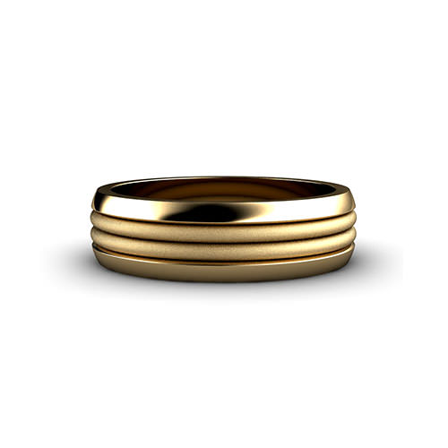 Double Row Ribbed Wedding Ring