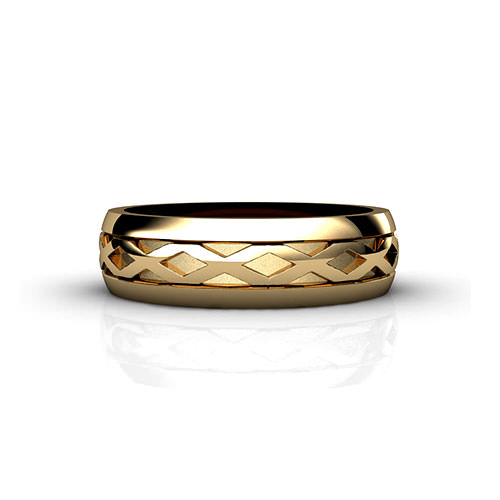 Men's X Pattern Wedding Ring