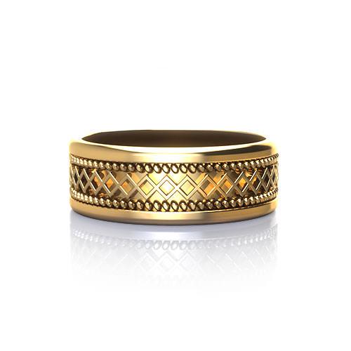 Geo Grid Mans Wedding Ring