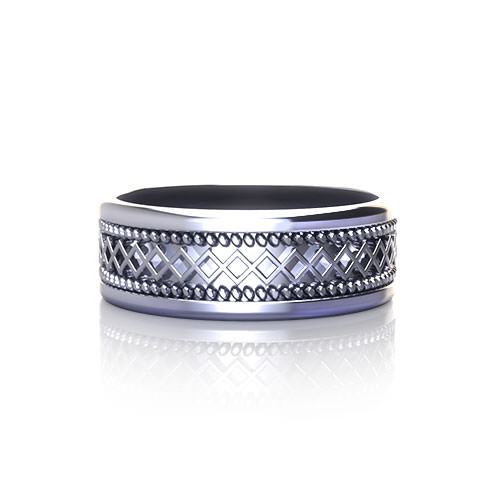 Geo Grid Mans Wedding Ring