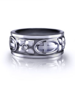 Cross and Dogwood Wedding Ring