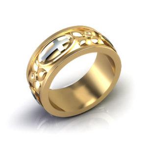 Cross and Dogwood Wedding Ring