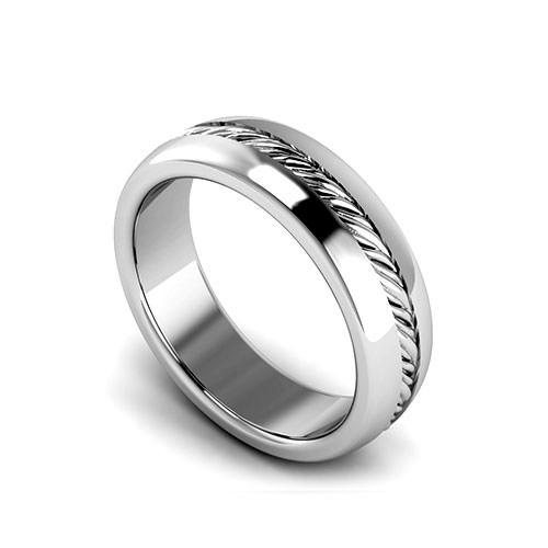 Ribbed Sliced Wedding Ring