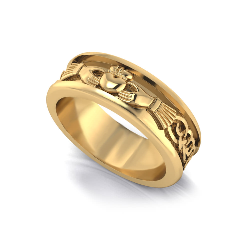 Men39s claddagh wedding ring jewelry designs for Wedding ring necklace