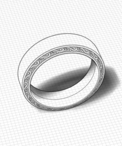 Ornate Edge Flat Wedding Band