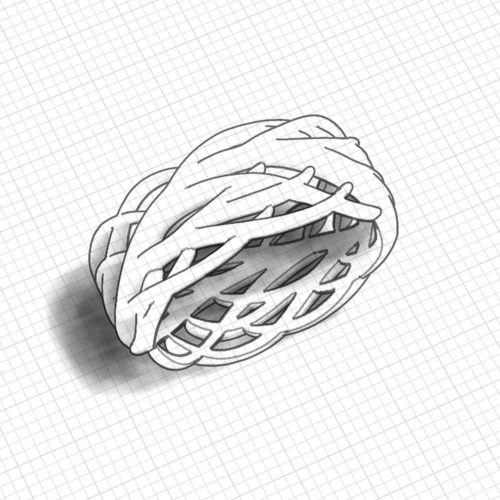 Wide Feather Wedding Ring