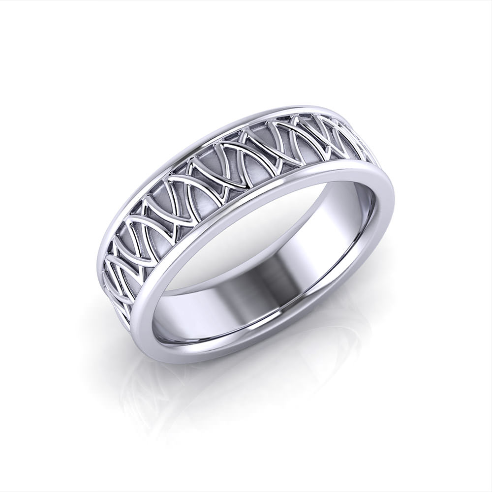 Pinstripe Mens Wedding Band