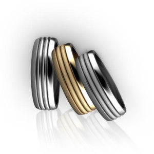 Ribbed Mens Wedding Ring Colors