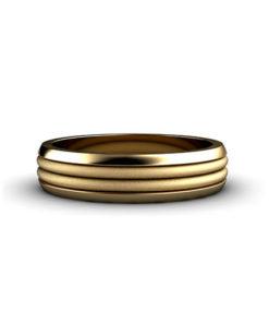 Ribbed Mens Wedding Ring Yellow