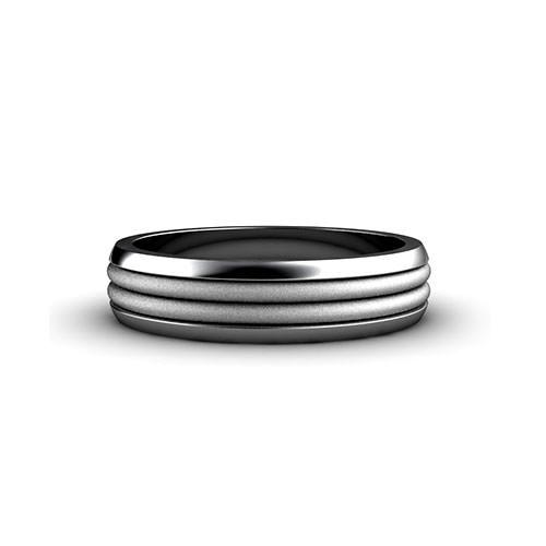 Ribbed Mens Wedding Ring