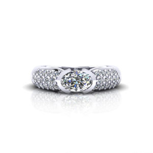 Pave Oval Diamond Ring