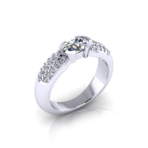 Pave Oval Diamond Ring