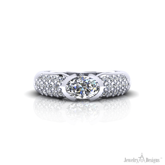 RD177-1 Oval Diamond Pave' Ring