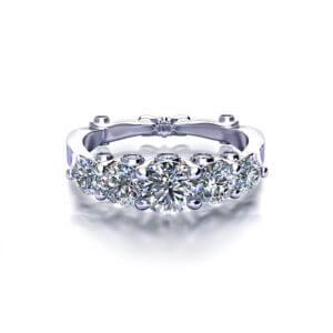 Five Diamond Anniversary Ring-top