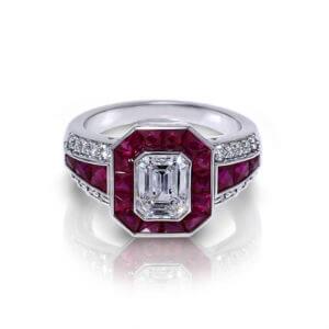 Emerald Cut Diamond Ruby Ring