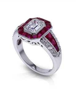 Emerald Cut Diamond Ruby Ring