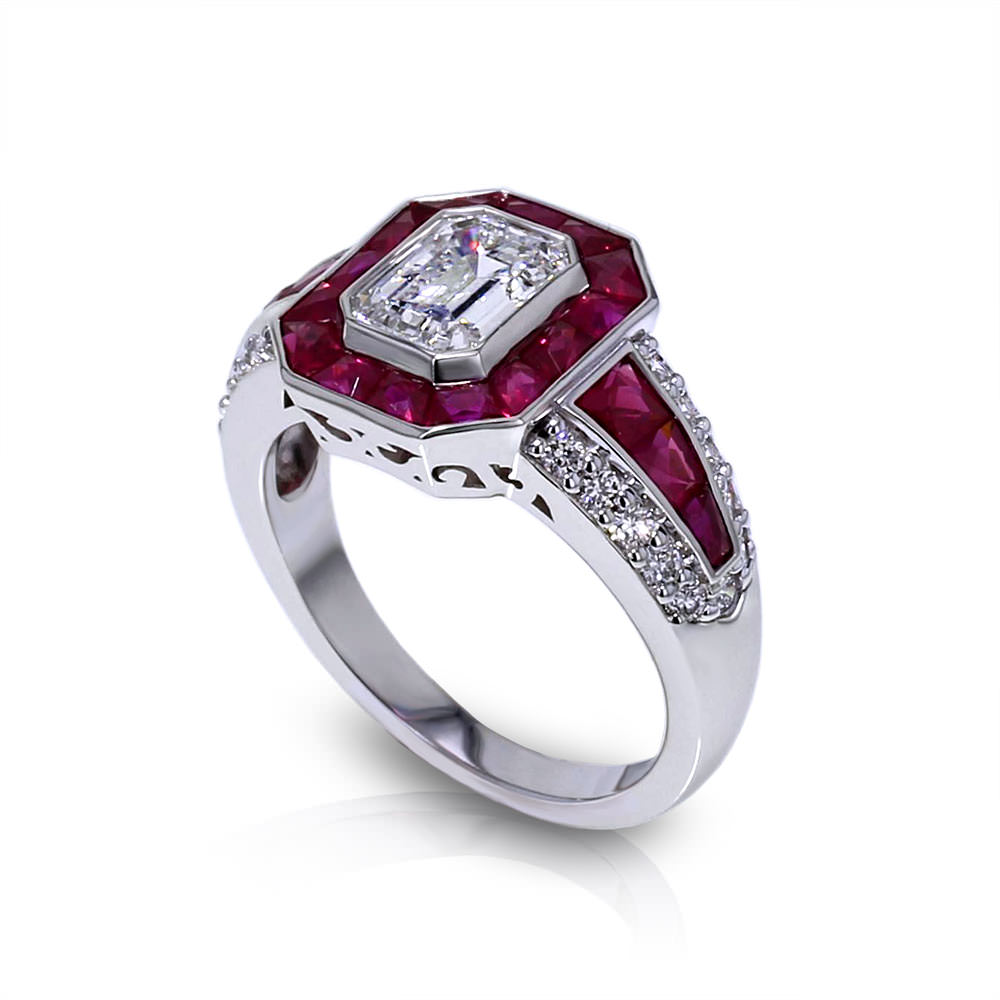 Emerald Cut Diamond Ruby Ring Jewelry Designs