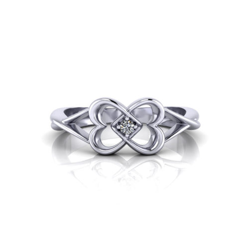 Twin Heart Diamond Promise Ring